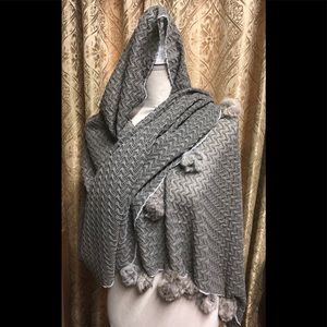 Accessories - Crochet grey scarf with faux raccoon fur poms NWT